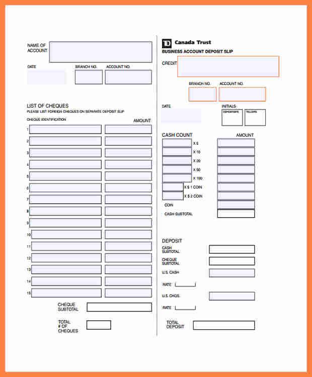 deposit slips template
