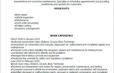 diesel mechanic resume auto body technician resume