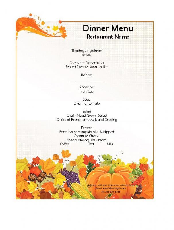 Dinner Menu Template | Dinner Menu Template Template Business