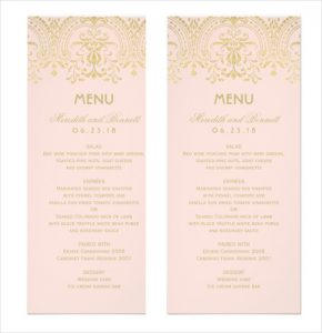 dinner menu template gold vintage glam wedding dinner menu card template sample download