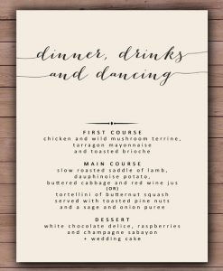 dinner menu template printable wedding dinner menu template sample download