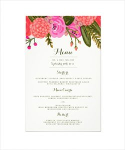 dinner menu template sample vintage garden wedding dinner menu template download