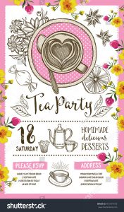 dinner party menu template stock vector tea party invitation template design vintage creative dinner invitation with hand drawn graphic