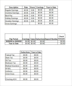 direct deposit form template pay stub template in excel format