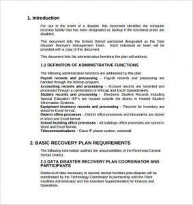 disaster recovery plan example example of data disaster recovery plan template free download