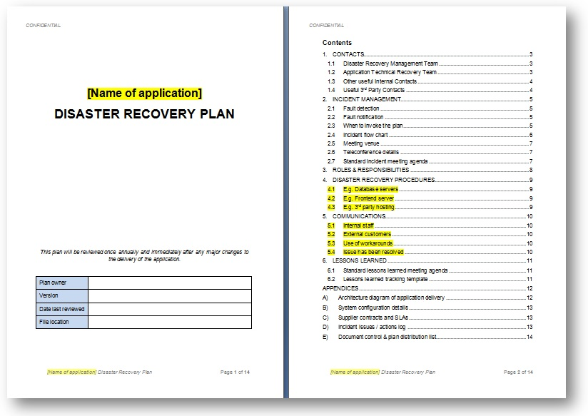 Disaster recovery plan template template business for Recovery action plan template