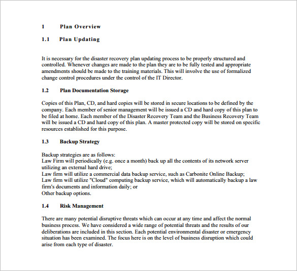 Disaster Recovery Plan Template | Disaster Recovery Plan Template Template Business