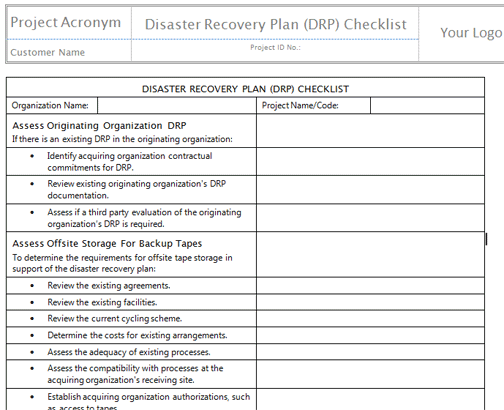 hospital disaster recovery plan template - disaster recovery plan template template business