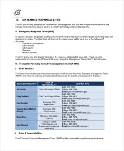 disaster recovery plan template sample it disaster recovery plan template