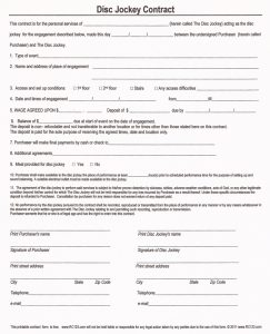 disc jockey contracts template agreement templates printable blank contract form for disc jockey with points of agreements