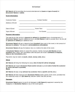 disc jockey contracts template dj residency contract