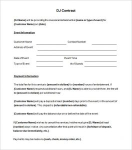 disc jockey contracts template printable dj contract template