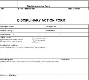 disciplinary action form disciplinary action form free download