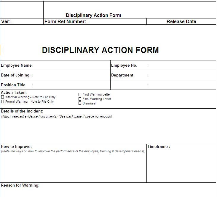 Disciplinary Action Form  Template Business