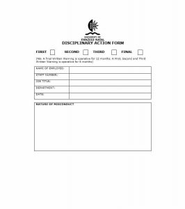 disciplinary action forms disciplinary action form
