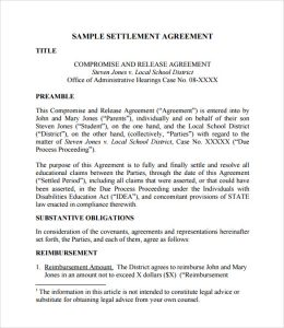 divorce settlement agreement template settlement agreement form example