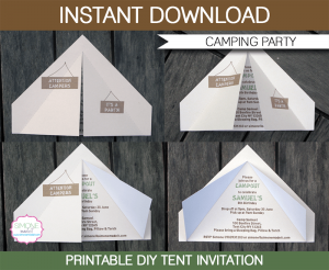 diy candy bar wrappers printable camping party tent invitation template