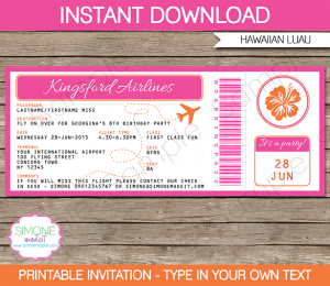 diy candy bar wrappers printable hawaiian luau boarding pass invitation