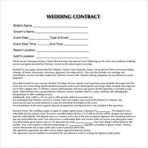 dj contract templates sample pdf wedding contract template