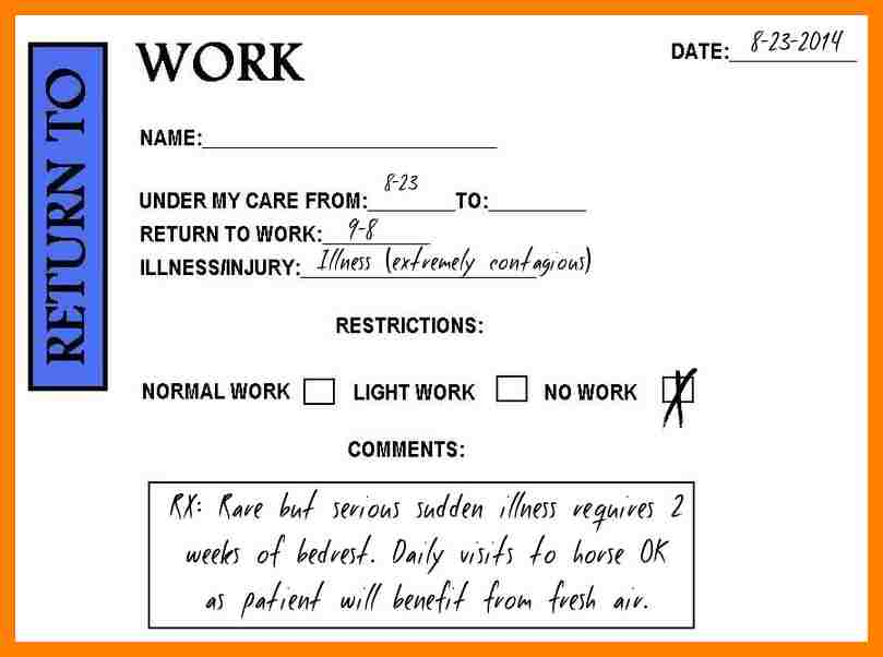 doctor excuse for work