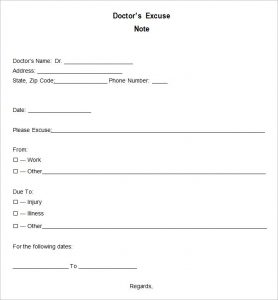 doctor excuse note blank doctors excuse template