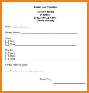 doctor excuse template for work signed doctors note free doctors note template