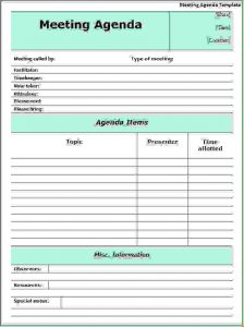 doctor excuses forms meeting agenda example meeting agenda template