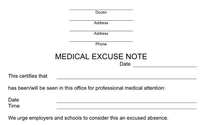 doctors excuse for work