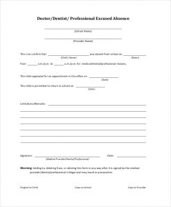 doctors note for school doctor excuse note for school in pdf