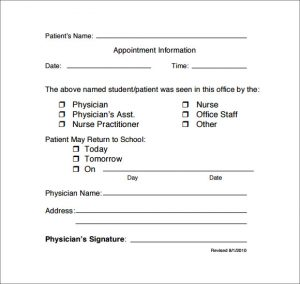 doctors note for school doctor note template for school
