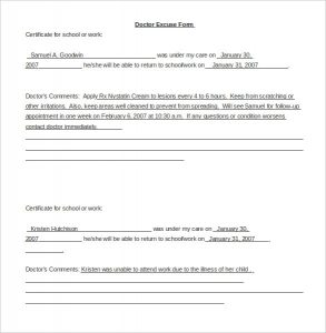 doctors note for school saample doctor note template for word doc download