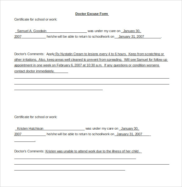 Doctors Note For School  Template Business