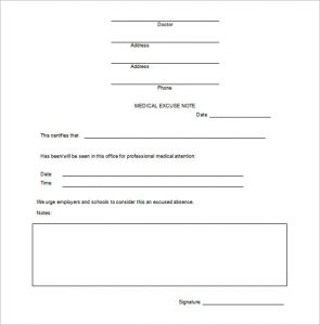 doctors note for work pdf example doctors excuse note for work free download