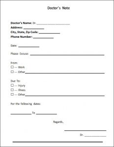 doctors note pdf doctors note for work template