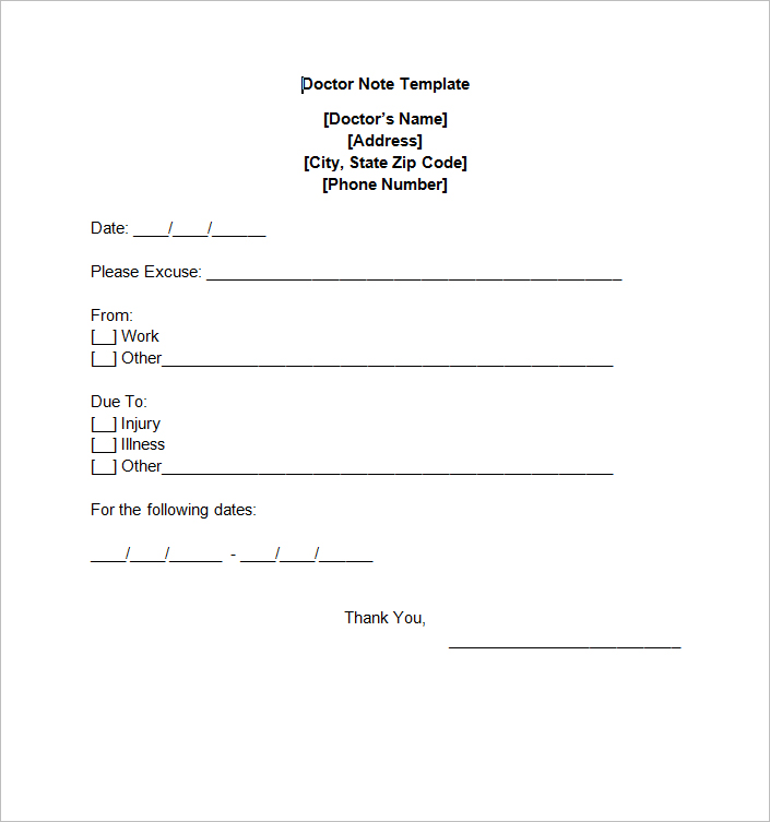 doctors excuse templates for work - doctors note template template business