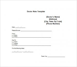 doctors note template medical doctor note for employe free word download