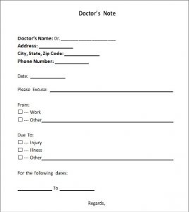 doctors notes templates doctors note template
