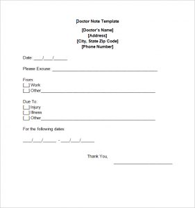 doctors notes templates free doctor note templates