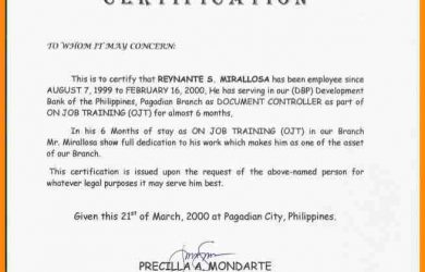 donation acknowledgement letter certification of employment sample
