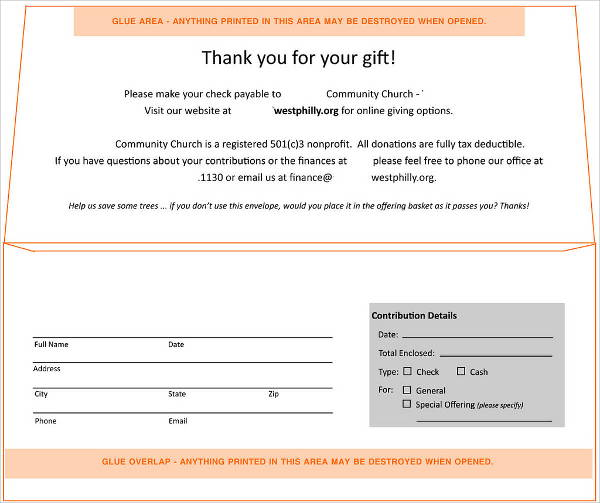 donation envelope template