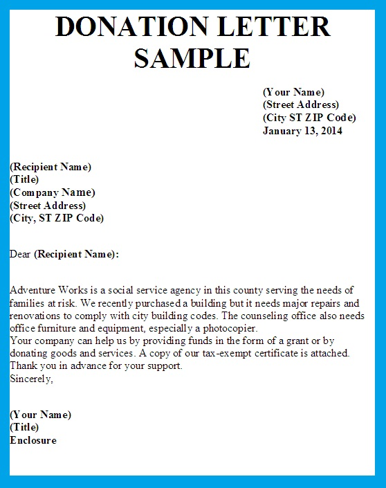 donation letter sample