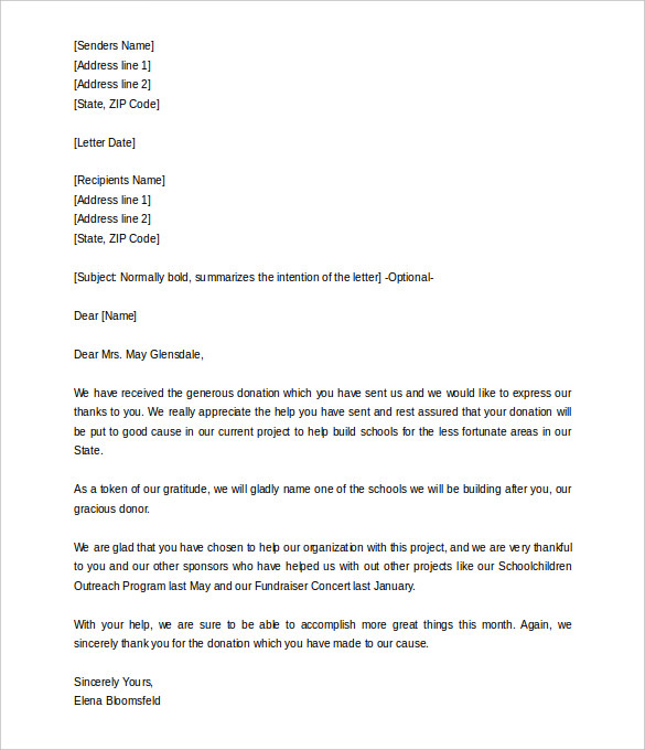 donation letter template