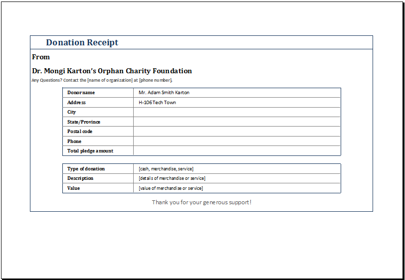 donation receipt template