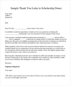 donor thank you letter scholaship donation thank you letter template