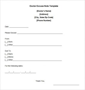 dr excuse note doctors note templates