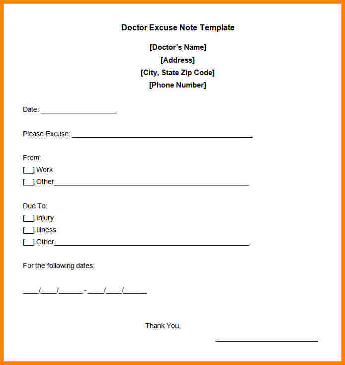 dr excuse template
