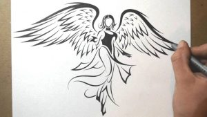 drawing of angels drawing pictures of angels how to draw an angel tribal tattoo design style youtube