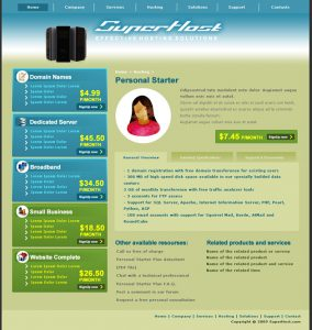 dream weaver website templates hosting company page