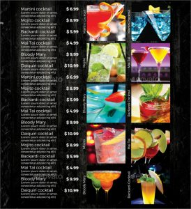drink menu design cocktail drink menu template