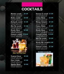 drink menu design cocktail drinks menu template